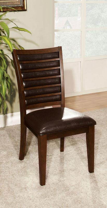 Furniture of America IDF-3035SC Brown Cherry Leatherette Dining Chair (set of 2) from Furniture of America