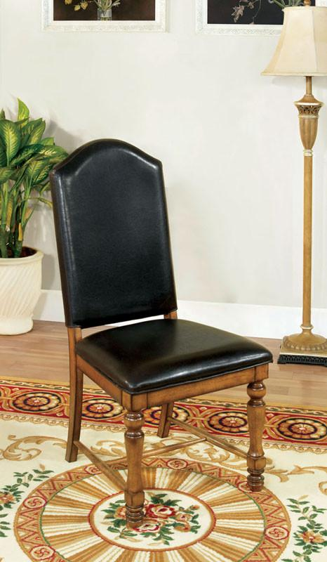 Furniture of America IDF-3157SC Leatherette Dining Chair in Driftwood Finish (Set of 2) from Furniture of America