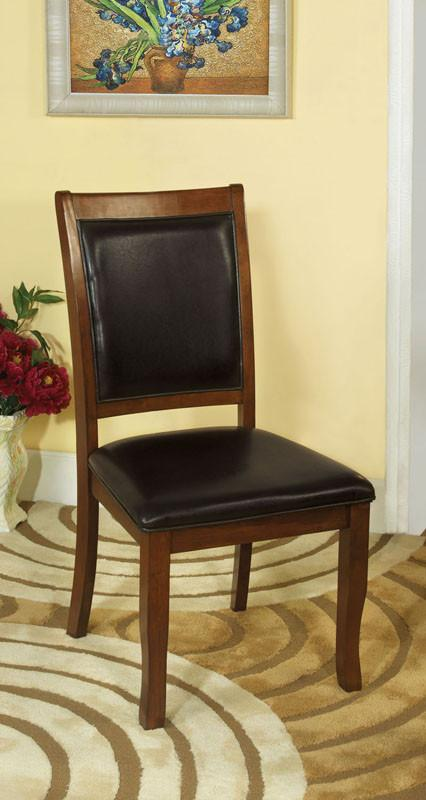 Furniture of America IDF-3532SC Brown Cherry Leatherette Dining Chair (Set of 2) from Furniture of America