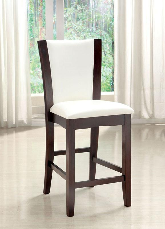 Furniture of America IDF-3710WH-PC White Leatherette Hardwood Counter Height Chair (set of 2) from Furniture of America