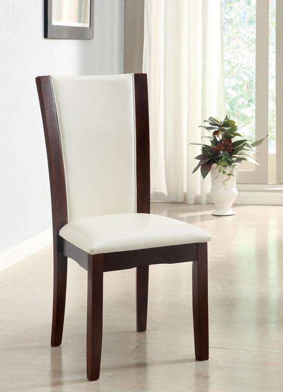 Furniture of America IDF-3710WH-SC White Leatherette Hardwood Dining Chair (set of 2) from Furniture of America