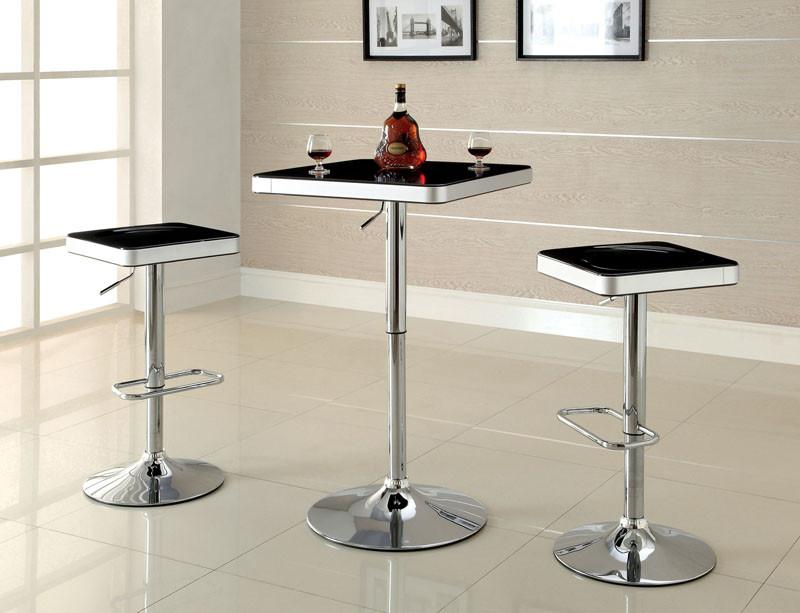 Furniture of America IDF-BT6914BK Black Top ABS Height Adjustable Bar Table from Furniture of America
