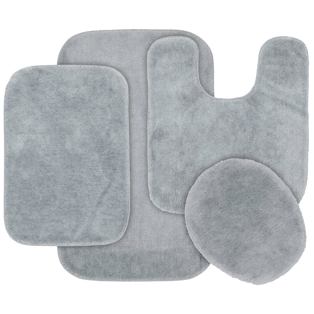4pc Traditional Nylon Bath Rug Set Platinum Gray - Garland Rug from Garland Rug