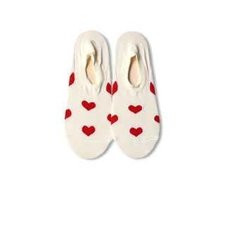 Heart Print No-Show Socks Milky White - One Size from Gemini
