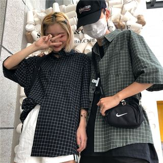 Couple Matching Check Elbow-Sleeve Shirt from Genki Groove