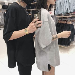 Couple Matching Monochrome Elbow-Sleeve T-Shirt from Genki Groove