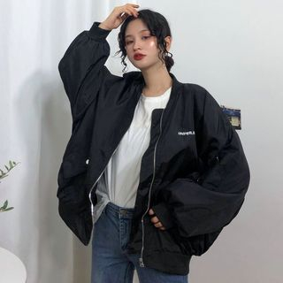 Letter Zip Bomber Jacket Black - One Size from Genki Groove