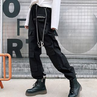 Lettering Cargo Harem Pants from Genki Groove