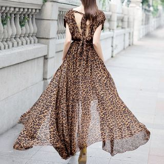 Leopard Printed Maxi Dress from Glaypio