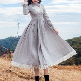 Long-Sleeve Lace-Panel Dress from Glaypio