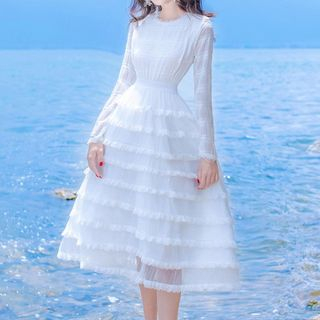 Long-Sleeve Layered Dress from Glaypio