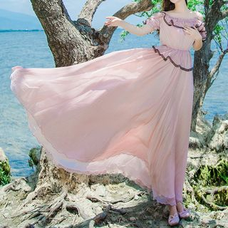 Off-Shoulder Ruffled Maxi Sundress from Glaypio