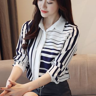 Striped Chiffon Blouse from Glaypio