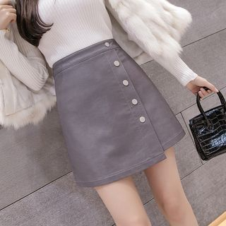 Buttoned A-Line Faux Leather Skirt from Gray House