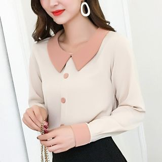 Contrast Collar Chiffon Blouse from Gray House