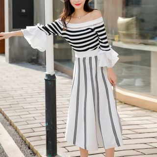 Elbow-Sleeve Sweater / Striped A-Line Midi Skirt from Gray House