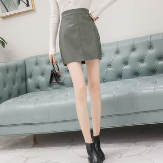 Faux Leather Mini A-Line Skirt from Gray House