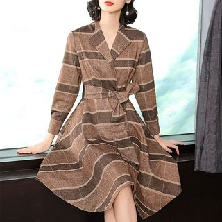 Long-Sleeve Plaid Wrap Dress from Gray House