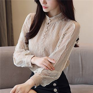 Mock Neck Lace Blouse from Gray House