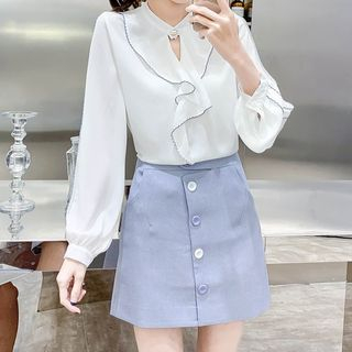 Ruffle Contrast Stitching Blouse from Gray House