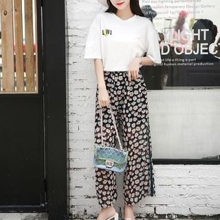 Set: Short-Sleeve T-Shirt + Floral Wide Leg Pants from Gray House