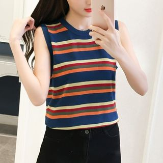 Sleeveless Striped Knit Top As Shown In Figure - One Size from Gray House