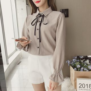 Tie-Neck Striped Shirt from Gray House