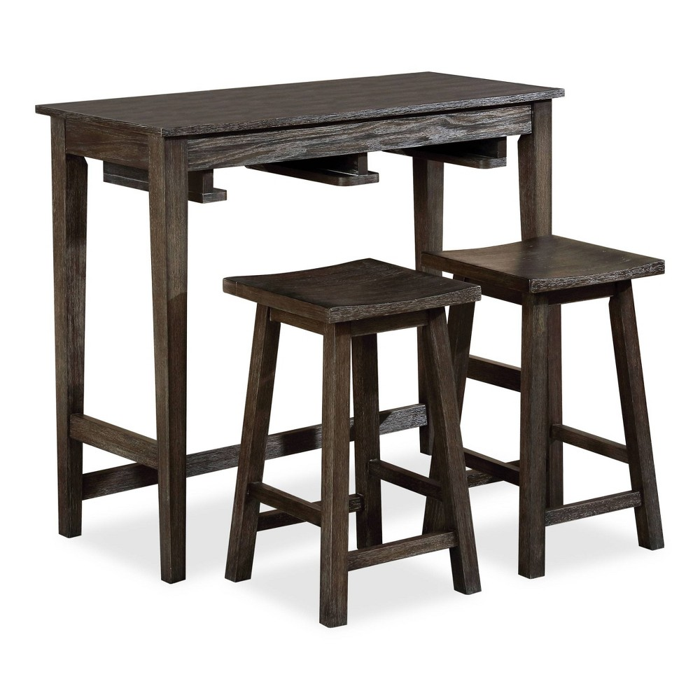 3pc Helbrana Bar Table Set Gray - HOMES: Inside + Out from HOMES: Inside + Out