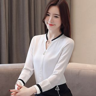 Long-sleeve V neck Chiffon Blouse from Hamuet