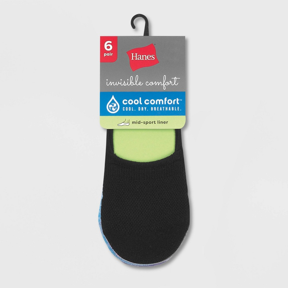 Hanes Women's Extended Size Invisible Comfort 6pk Sneaker Cut Liner Socks - Black 8-12 from Hanes