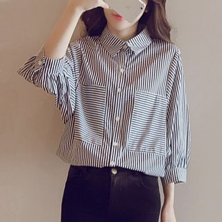 3/4-Sleeve Striped Shirt from Happo