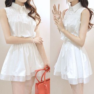 Collared Sleeveless Dress from Happo