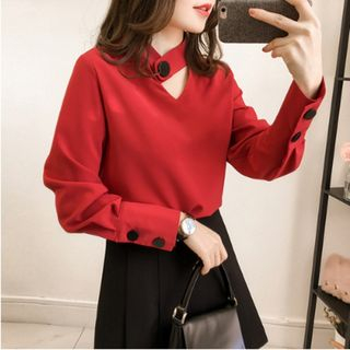 Cutout Long-Sleeve Chiffon Top from Happo