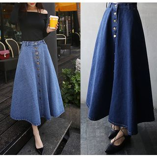 Denim Midi A-Line Skirt from Happo