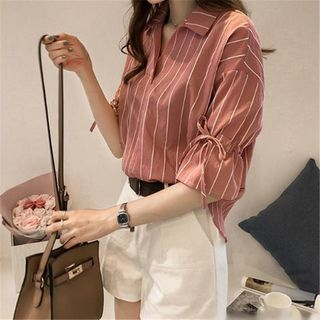 Elbow-Sleeve Pinstriped Collared Top from Happo