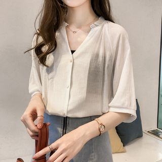 Elbow-Sleeve V-Neck Chiffon Blouse from Happo