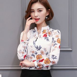 Floral Print Chiffon Blouse from Happo