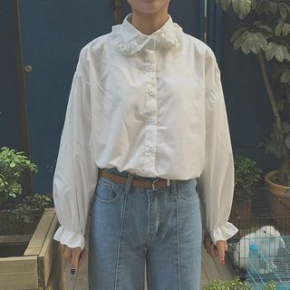 Frill-Trim Shirt White - One Size from Happo