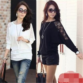 Lace Panel Long-Sleeve T-Shirt from Happo