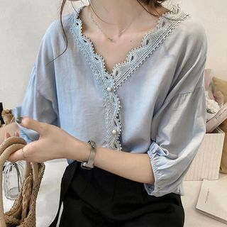Lace Trim Elbow-Sleeve V-Neck Blouse from Happo