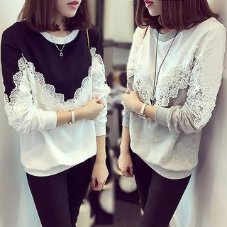 Lace Trim Pullover from Happo