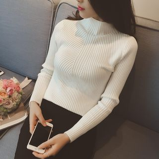 Mock-Neck Ribbed Knit Top from Happo