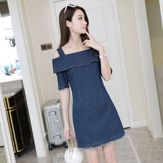 Off-Shoulder Short-Sleeve Denim Dress from Happo