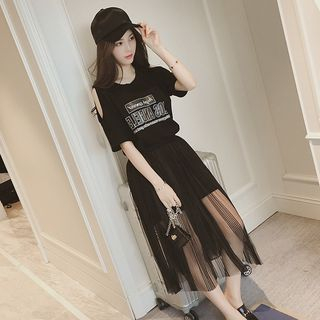 Set: Lettering Cut Out Shoulder Short Sleeve T-Shirt Dress + Mesh Skirt from Happo