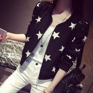 Star Print Zip Baseball Jacket from Happo
