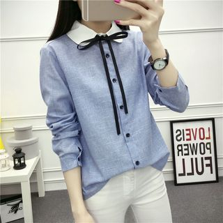 Striped Tie-Neck Shirt from Happo