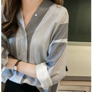 Striped V-Neck Blouse from Happo