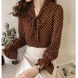 Tie-Neck Polka Dot Blouse from Happo