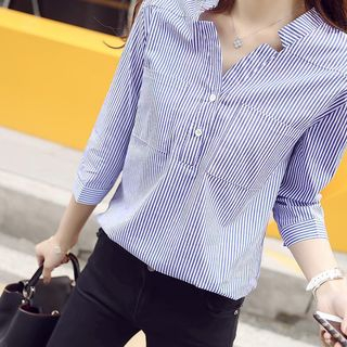 V-Neck Striped Blouse from Happo