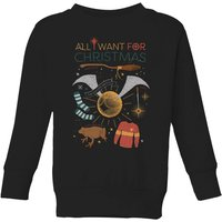Harry Potter All I Want Kids' Christmas Sweatshirt - Black - 5-6 Years - Black from Harry Potter